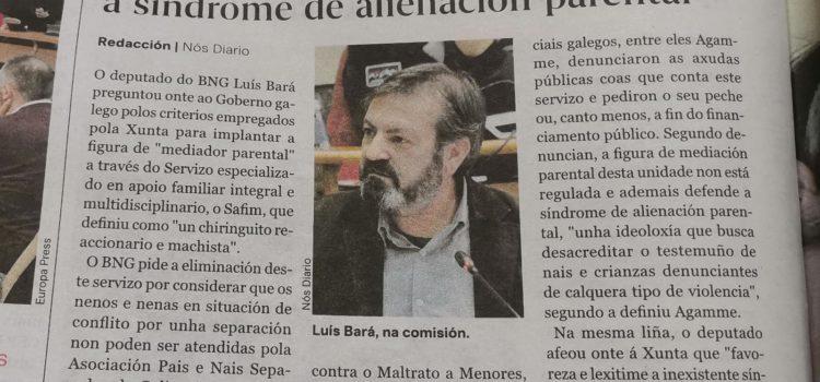 """Luis Bará, do BNG: """"a Xunta favorece e lexitima a inexistente síndrome de alienación parental"""""""